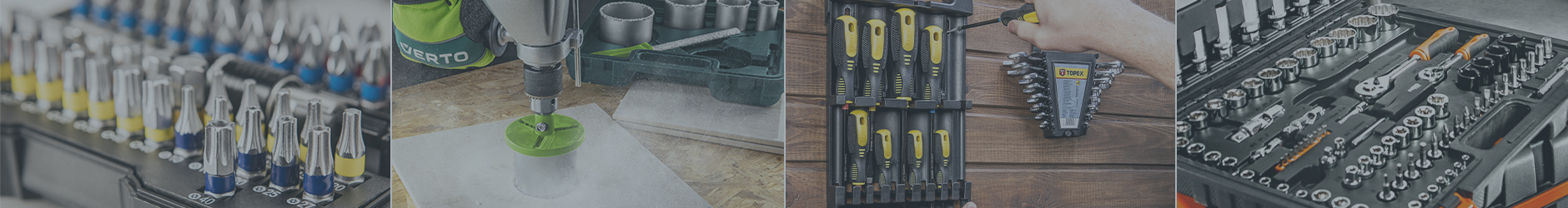 Zestawy narzędzi ręcznych i elektronarzędzi.